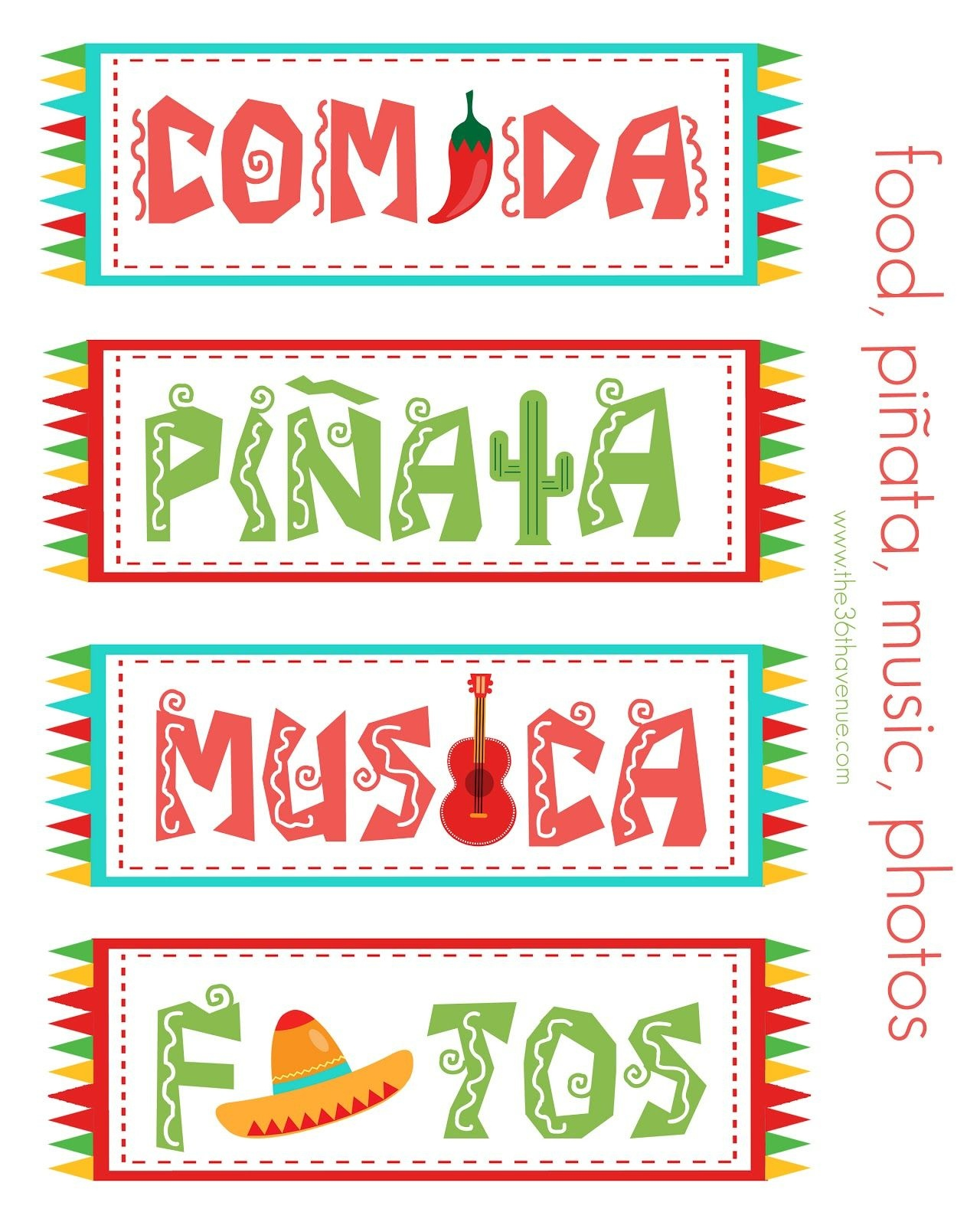 Free Festive Cinco De Mayo Printables {Freebie} | Cinco De Mayo - Free Printable Mexican Party Decorations