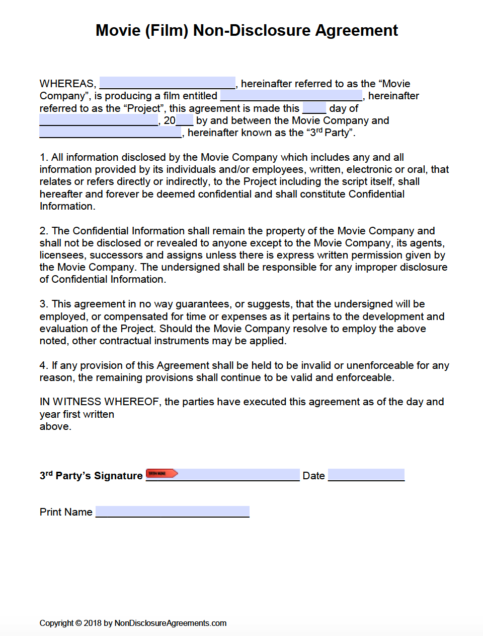 Free Film (Movie) Non-Disclosure Agreement (Nda) Template | Pdf | Word - Free Printable Non Disclosure Agreement Form