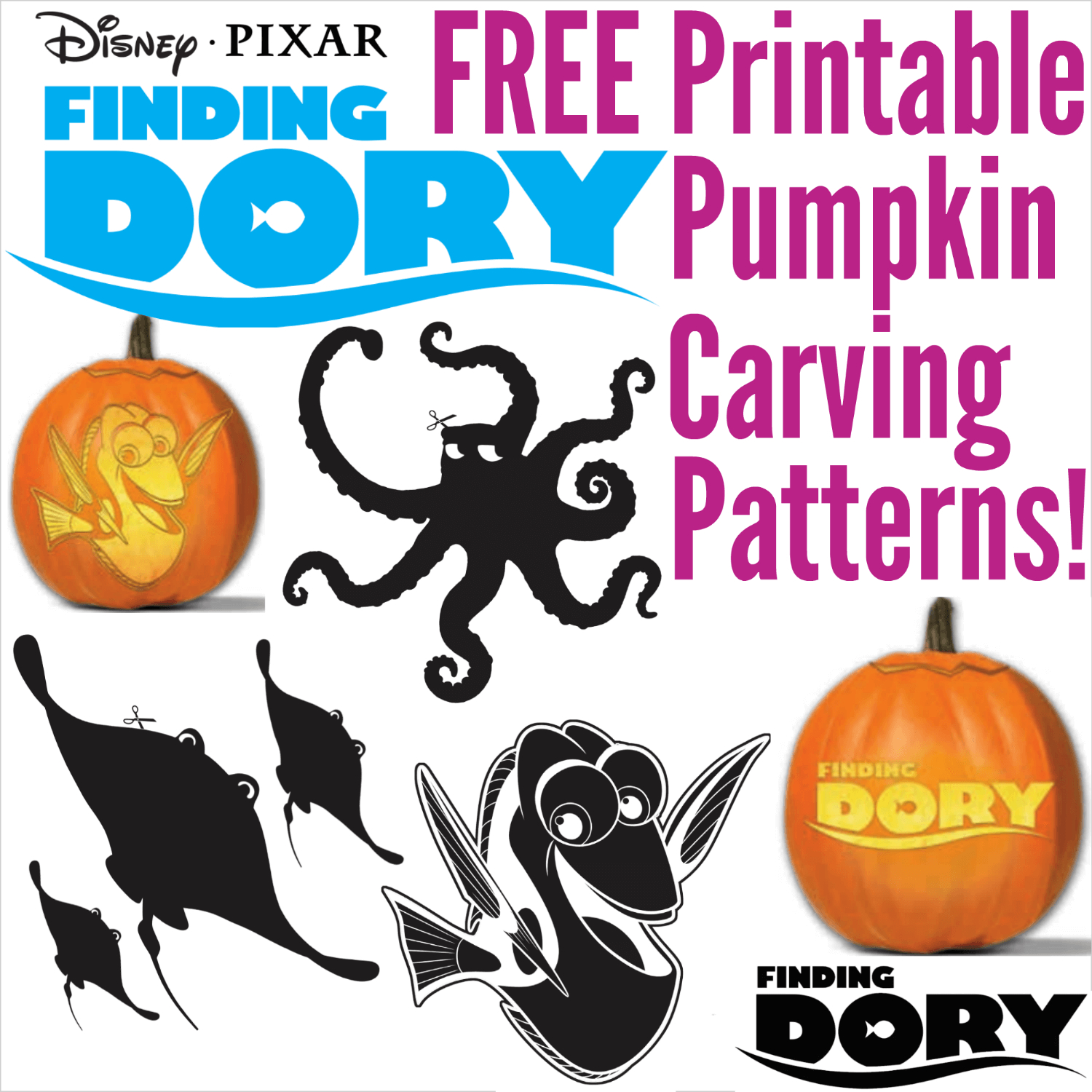 Free Finding Dory Pumpkin Carving Patterns To Print! - Pumpkin Patterns Free Printable