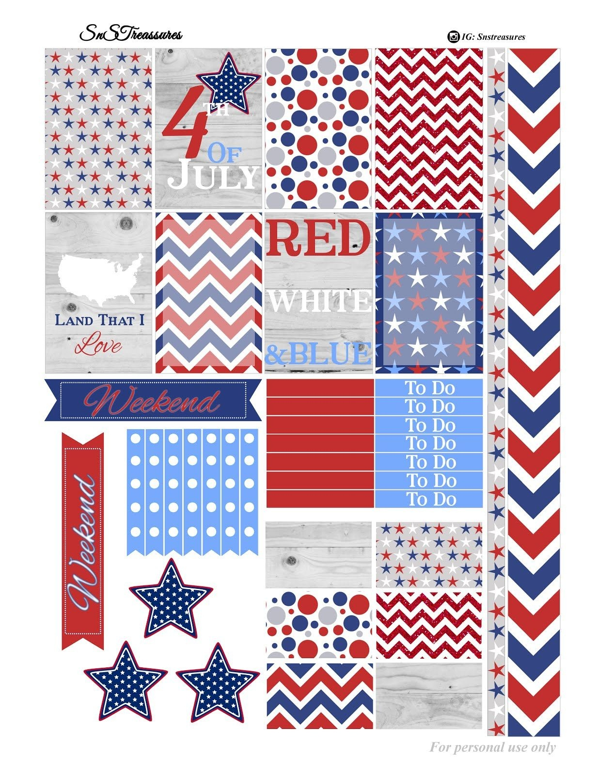 Free Fourth Of July Printable Planner Stickers | Home Office - Free Printable 4Th Of July Stationery