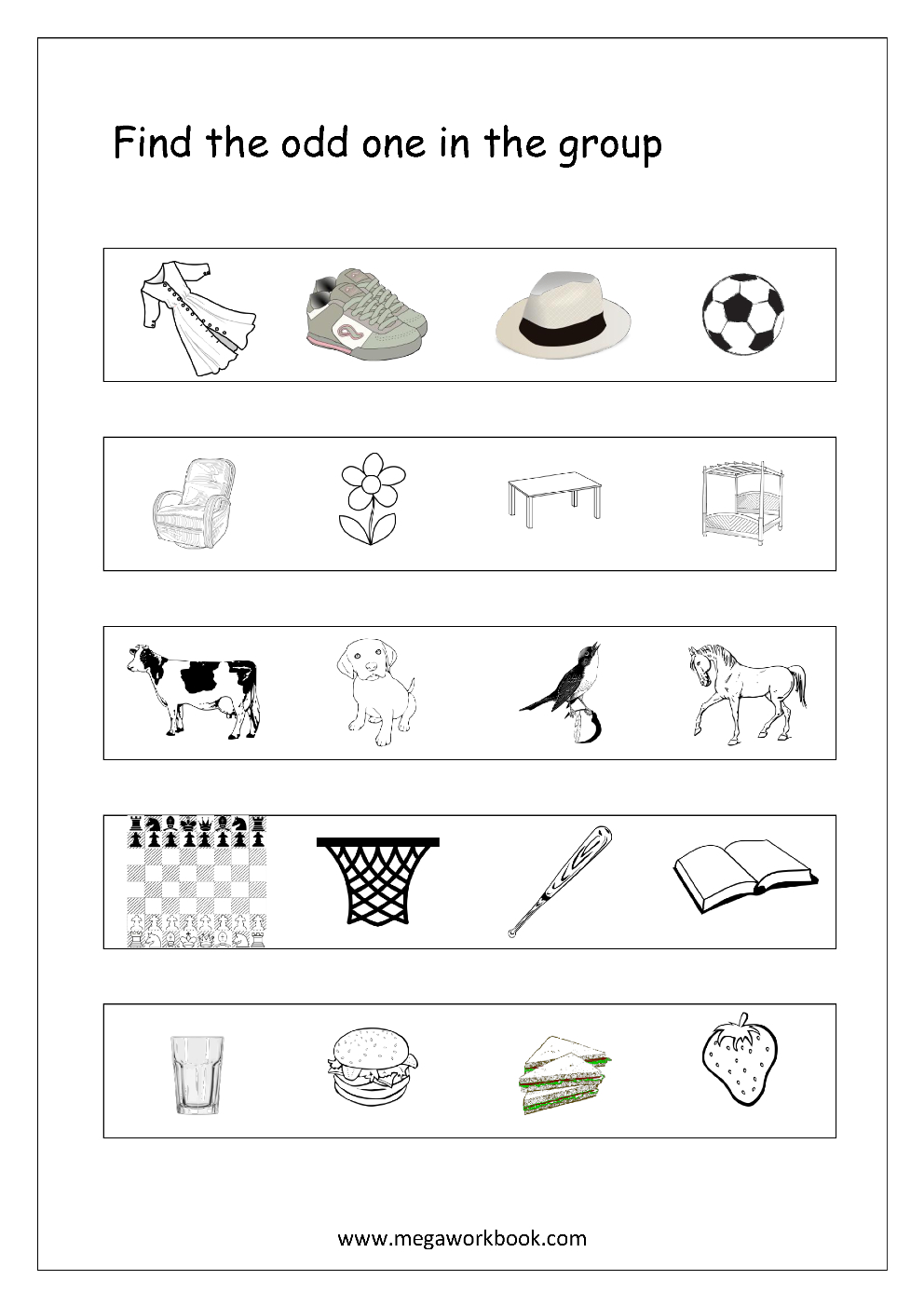 Free General Aptitude Worksheets - Odd One Out - Megaworkbook - Free Printable Science Lessons
