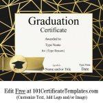 Free Graduation Certificate Template | Customize Online & Print   Free Printable Graduation Certificates Templates