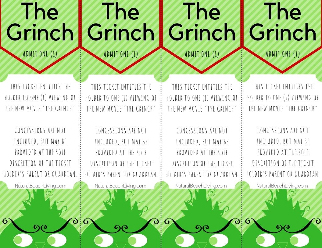 Free Grinch Printable Activities Movie Tickets | Christmas | Movie - Free Grinch Printables
