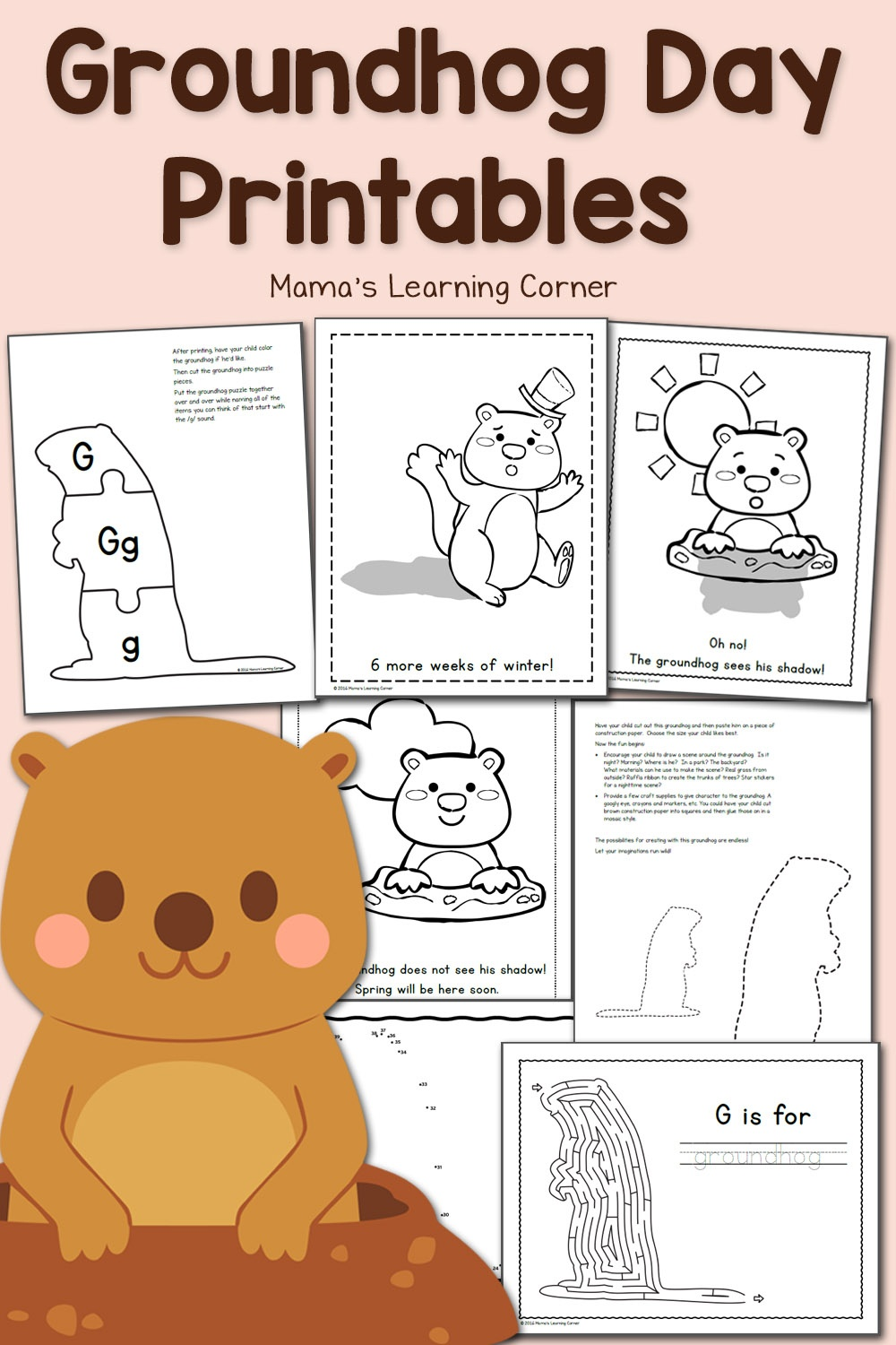 Free Groundhog Day Printables! - Mamas Learning Corner - Free Groundhog Printables Preschool
