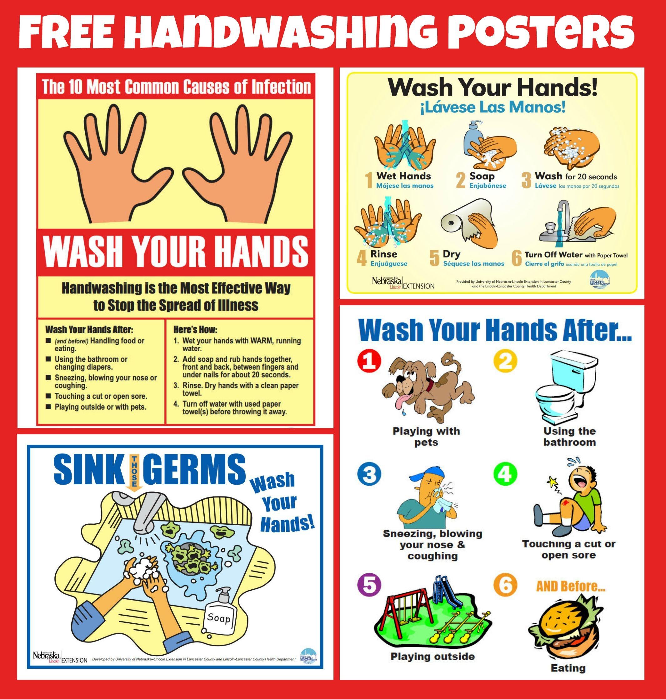 Free #handwashing Posters   Home Economics   School Health, School - Free Printable Hand Washing Posters