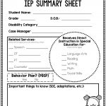 Free Iep Summary Sheet | Early Childhood Special Education | Special   Iep At A Glance Free Printable