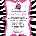 Free Invitations To Print |  Birthday Invitation   Glamour Girl   Free Printable Zebra Print Birthday Invitations