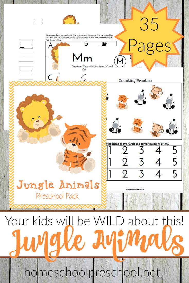 Free Jungle Animals Preschool Set - Thrifty Homeschoolers - Free Jungle Printables