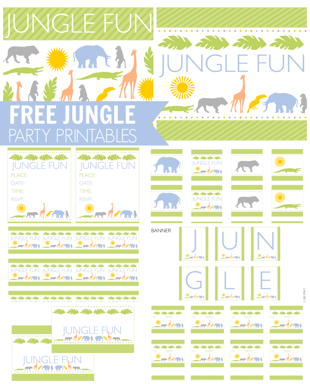 Free Jungle Party Printables From Printabelle | Catch My Party - Free Party Printables