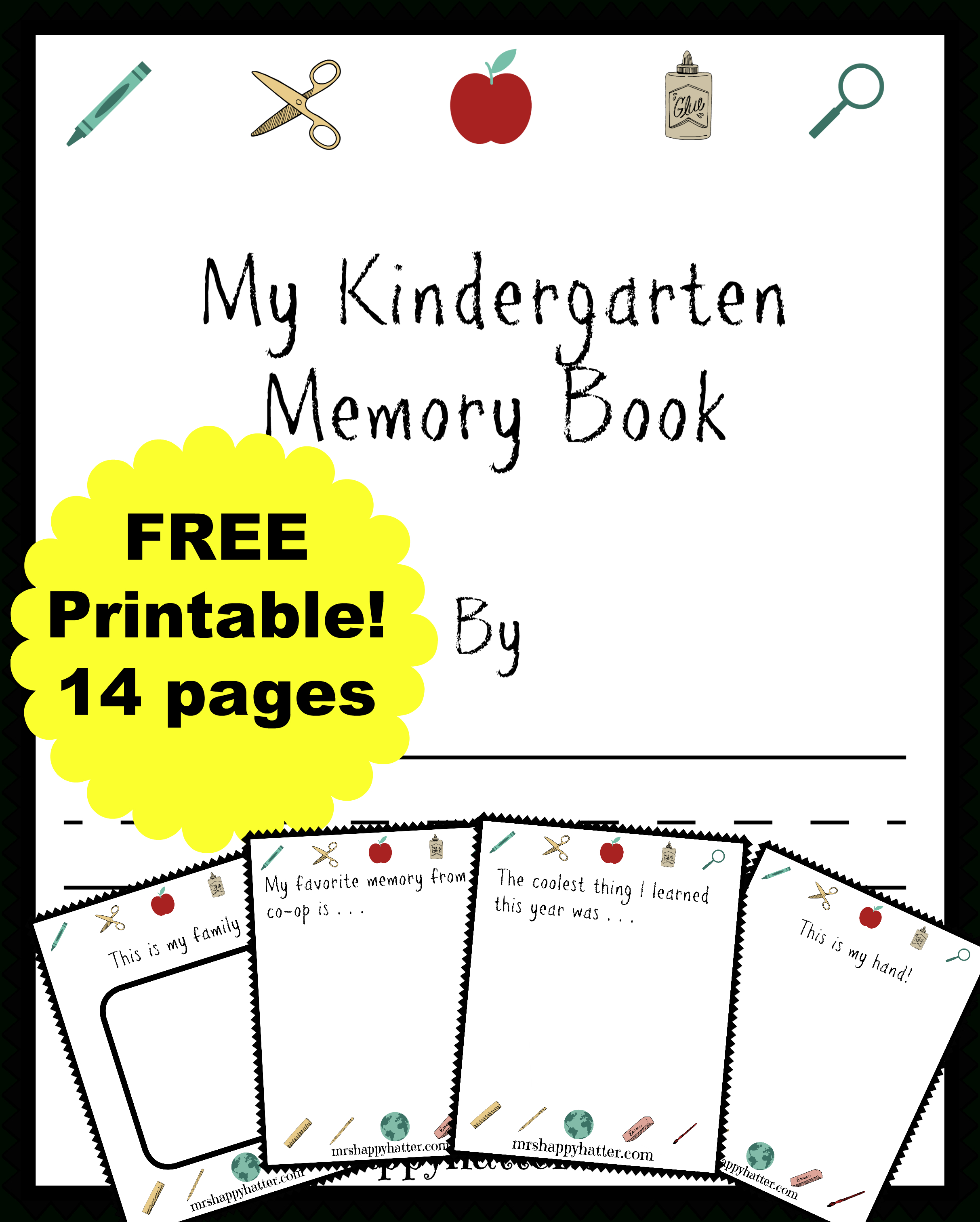 Free Kindergarten Memory Book (Homeschool Edition | Best Of Mrs - Free Printable Memory Book Templates