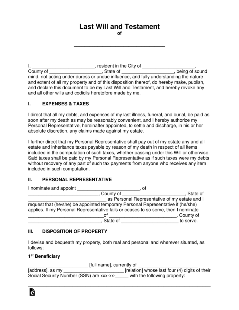 "Free Last Will And Testament Templates - A ""Will"" - Pdf 