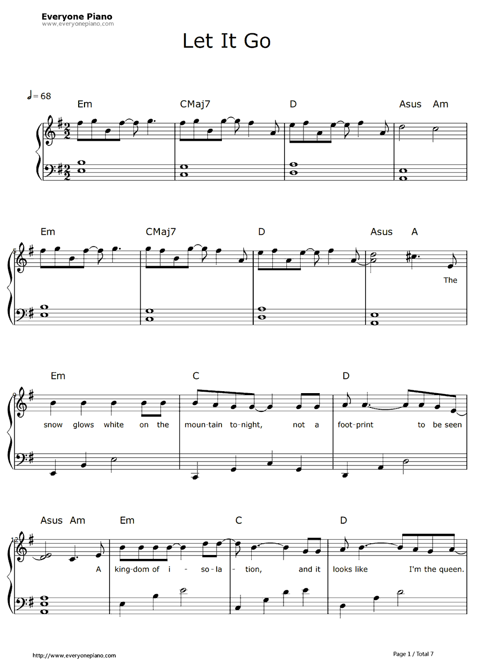 Free Let It Go Easy Version-Frozen Theme Sheet Music Preview 1 - Frozen Piano Sheet Music Free Printable