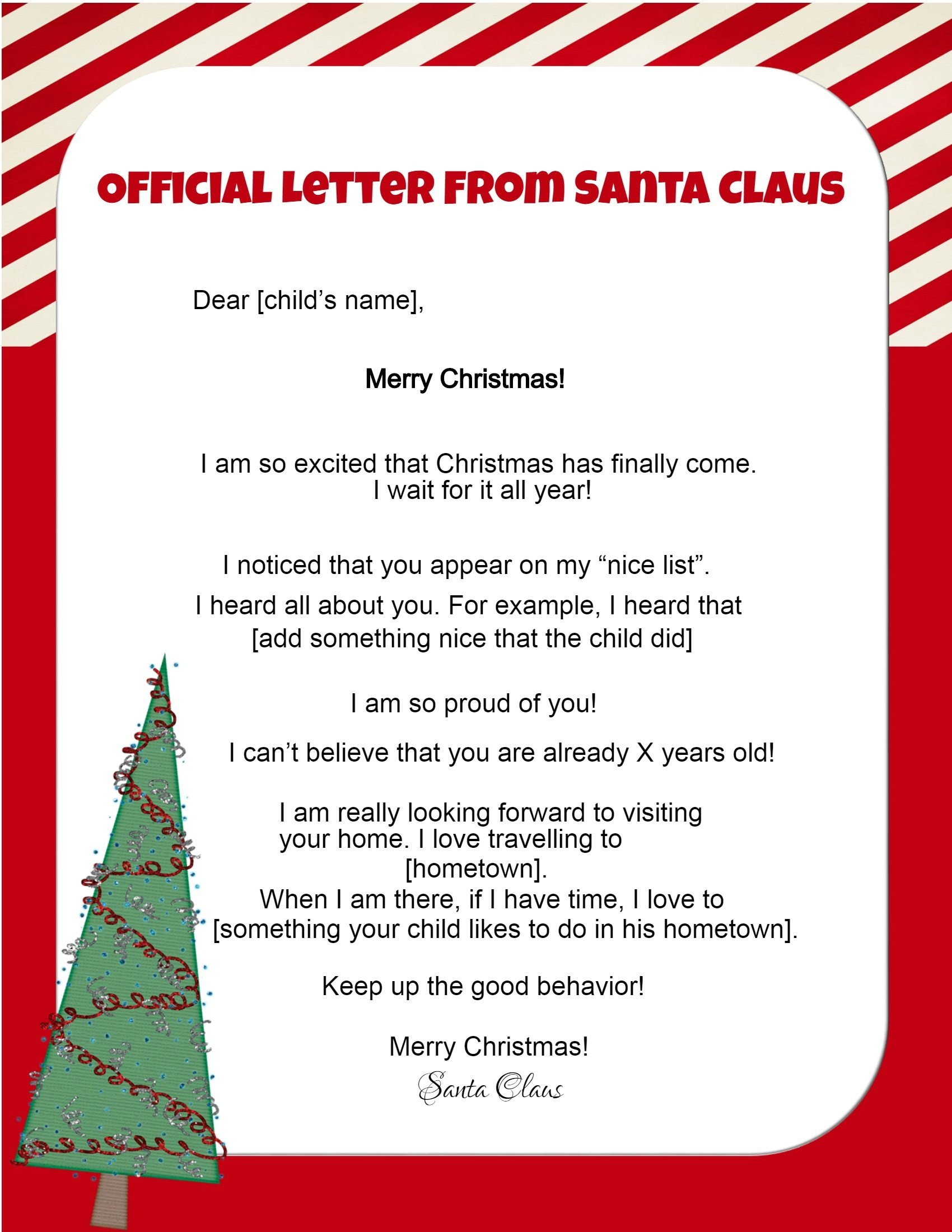 Free Letters From Santa - Free Personalized Printable Letters From Santa Claus