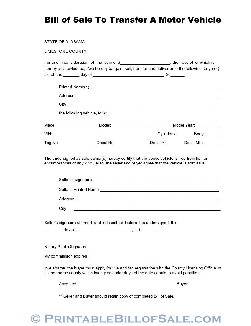 Free Limestone County Alabama Vehicle Bill Of Sale Form | Download - Free Printable Bill Of Sale For Vehicle In Alabama