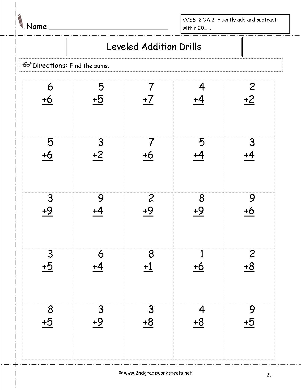 Free Math Worksheets And Printouts - Free Printable Second Grade Worksheets