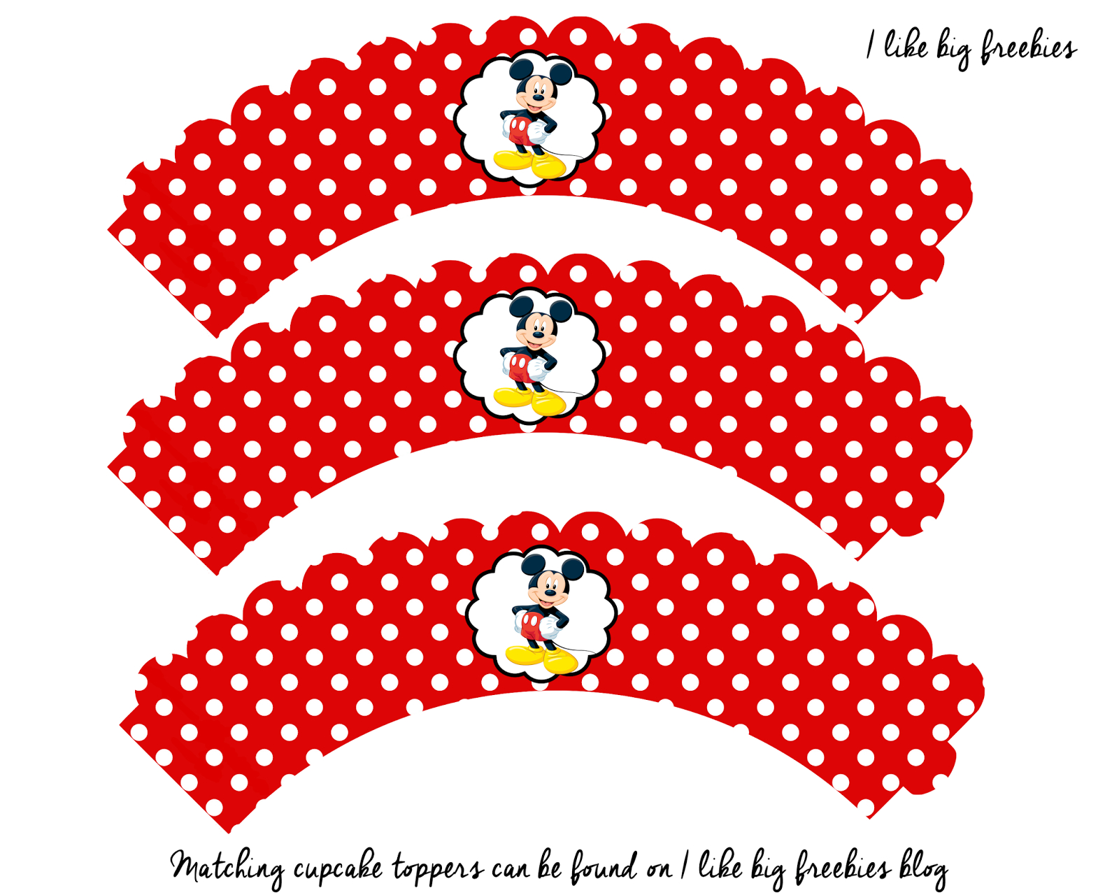 Free Mickey Mouse Cupcake Wrapper Printable | Digital Goodies - Free Printable Minnie Mouse Cupcake Wrappers