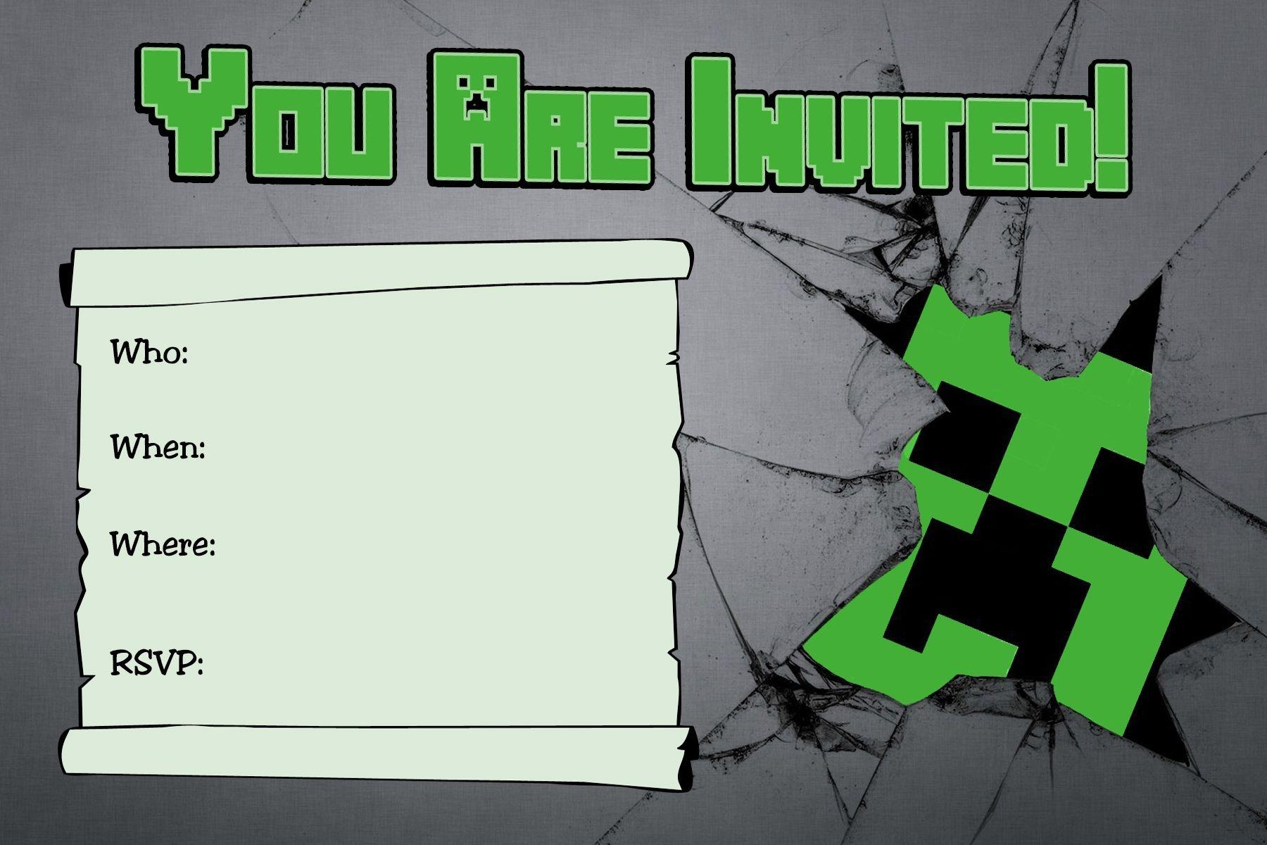 Free Minecraft Creeper Inspired Birthday Invitation Printable - Free Printable Minecraft Birthday Party Invitations Templates