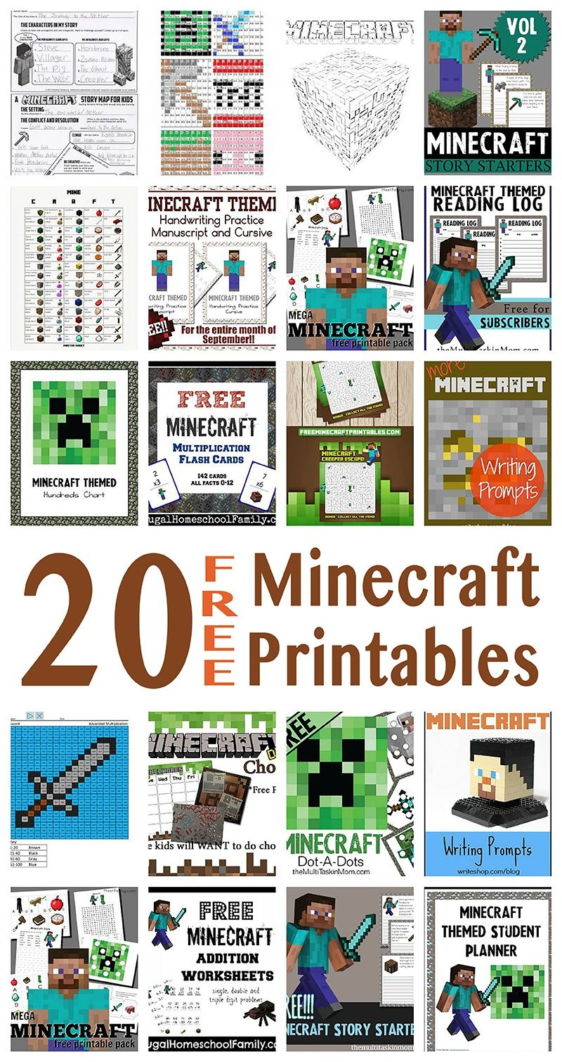 Free Minecraft Learning Resources (20+) | Homeschooling | Minecraft - Free Minecraft Printables