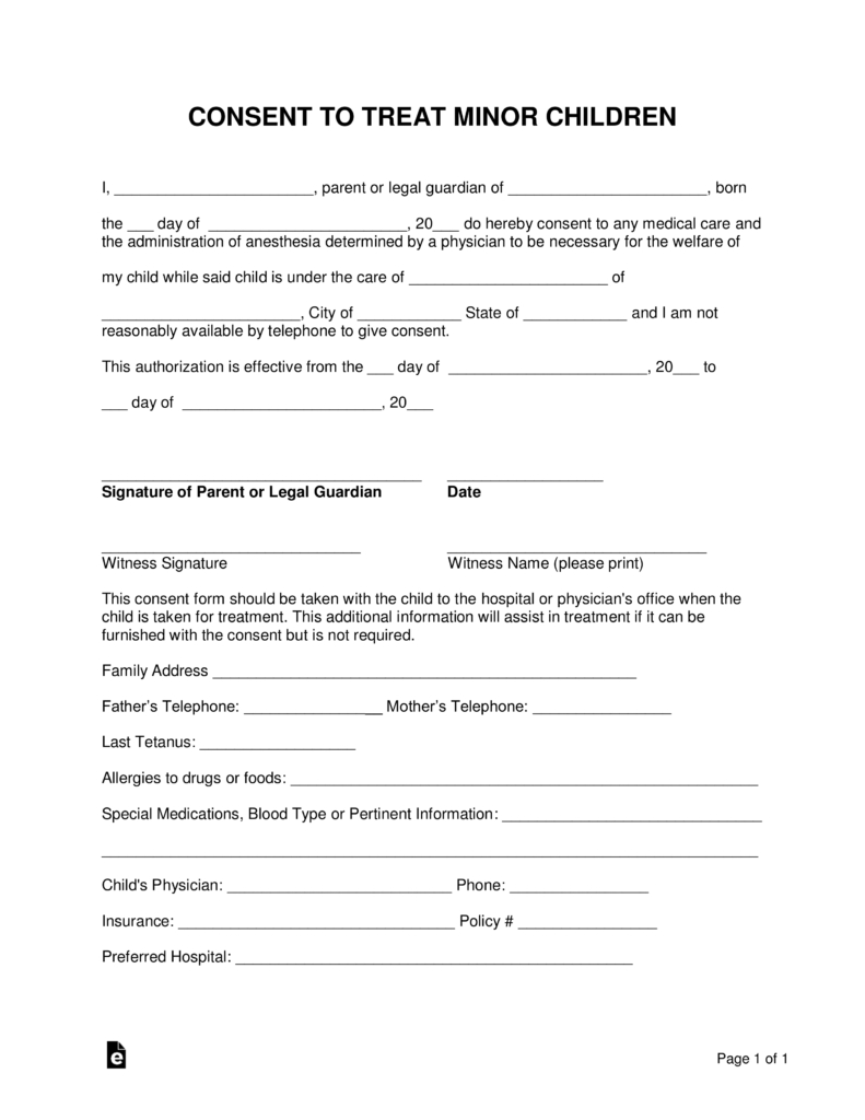 Free Minor (Child) Medical Consent Form - Word | Pdf | Eforms – Free - Free Printable Medical Consent Form