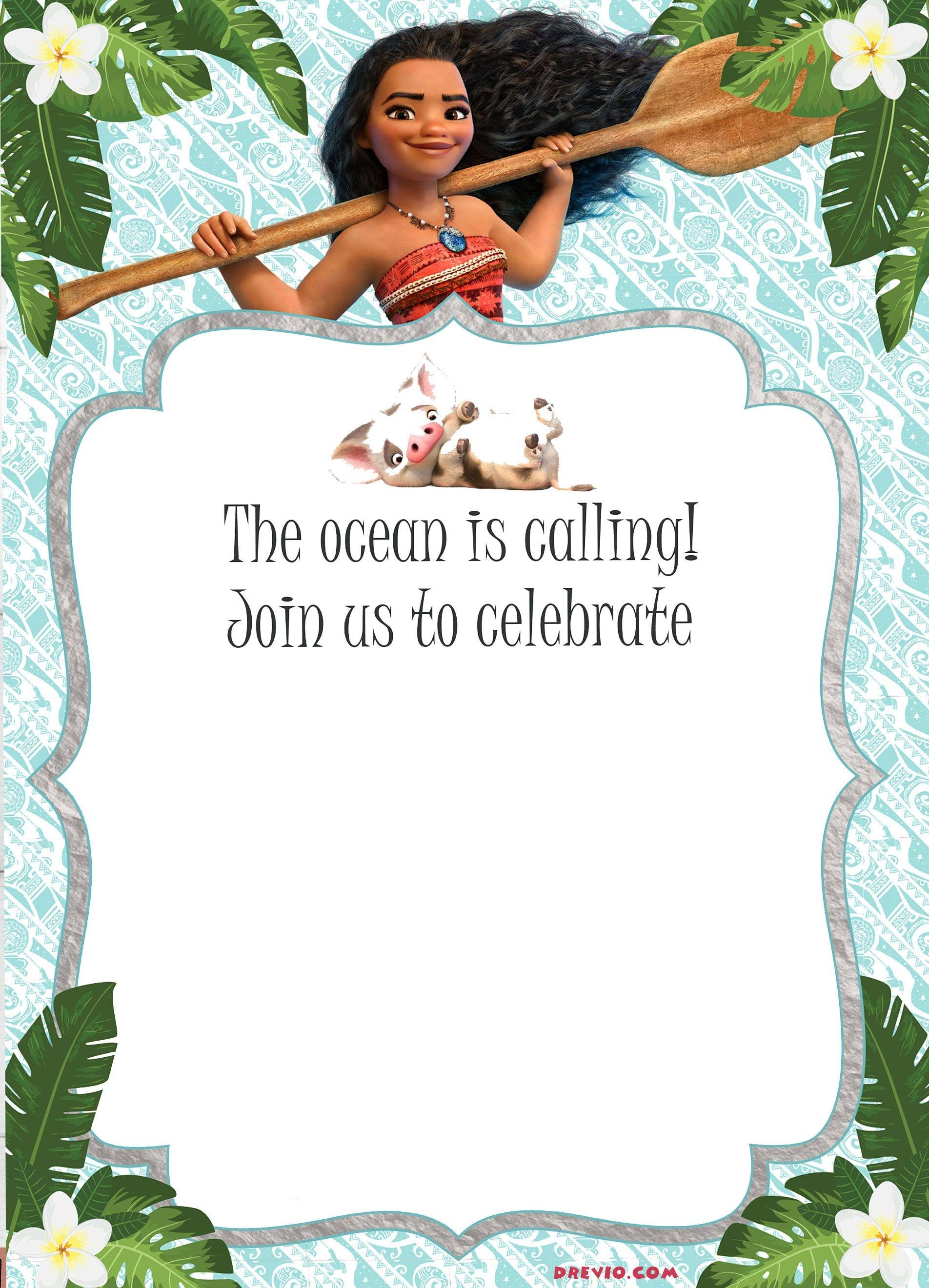 Free Moana Birthday Invitation Template | Moana / Luau Themed - Free Printable Moana Birthday Invitations