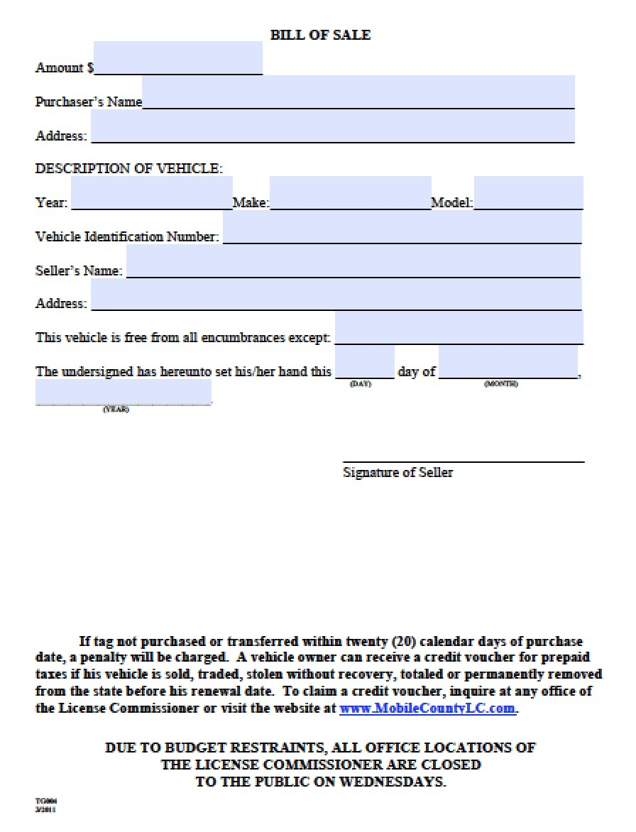 Free Mobile County, Alabama Bill Of Sale Form | Pdf | Word (.doc) - Free Printable Bill Of Sale For Vehicle In Alabama