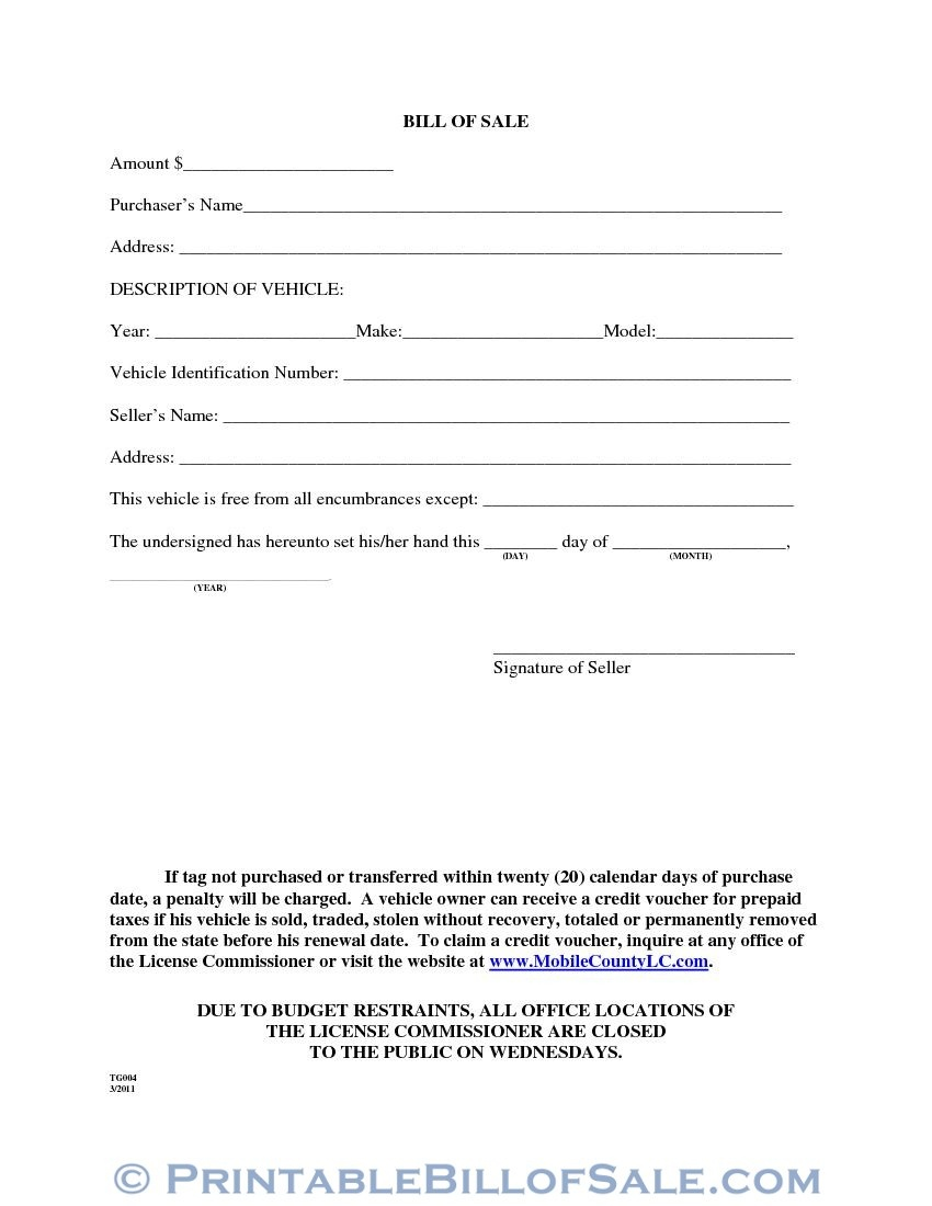 Free Mobile County Alabama Motor Vehicle Bill Of Sale Form Tg004 - Free Printable Bill Of Sale For Vehicle In Alabama