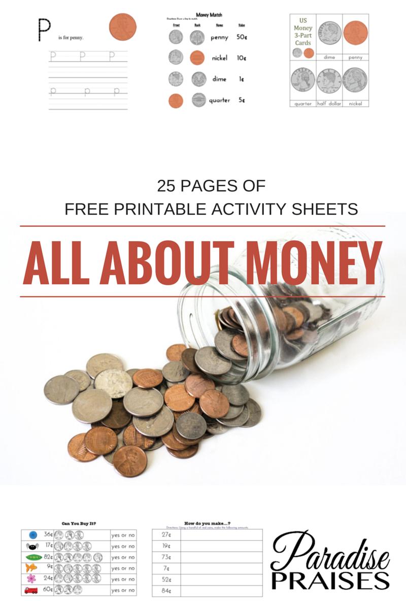 Free Money Printables | Paradise Praises Blog | Money Activities - Homeschooling Paradise Free Printable Math Worksheets Third Grade
