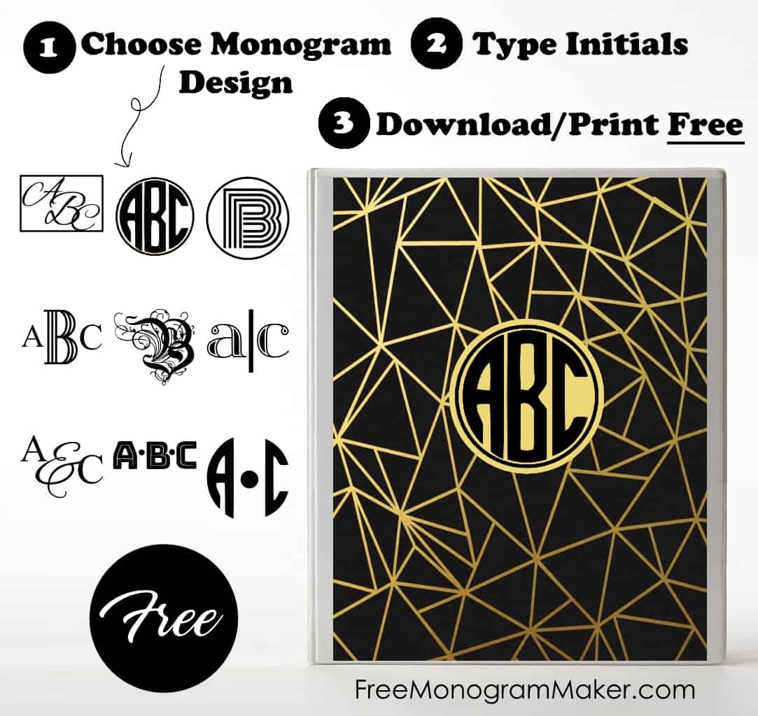 Free Monogram Binder Cover | Customize Online | Instant Download - Free Printable Monogram Binder Covers