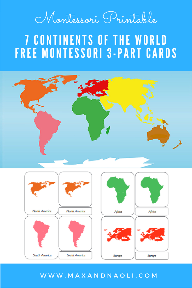 Free-Montessori-Printable-7-Continents-Of-The-World-3-Part - Montessori World Map Free Printable