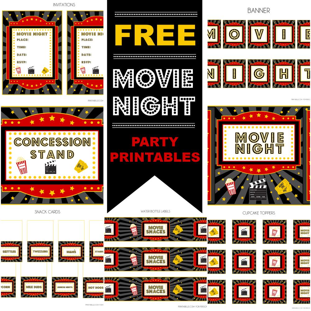 Free Movie Night Party Printablesprintabelle | Catch My Party - Free Movie Night Printables