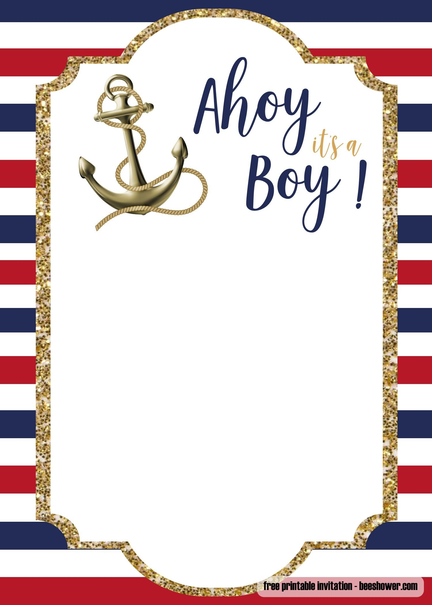 Free Nautical Baby Shower Invitations | Free Printable Birthday - Printable Invitation Templates Free Download