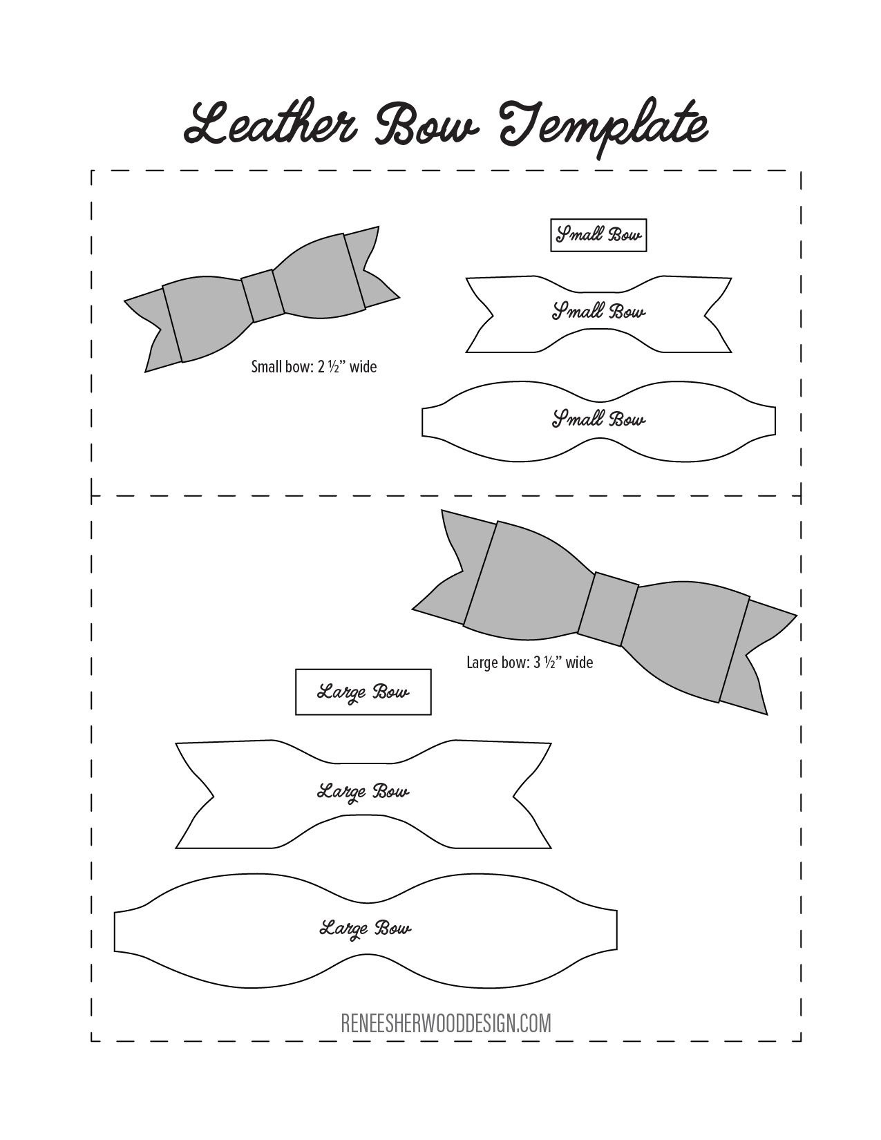 Free No Sew Leather Or Felt Bow Template Download At Www - Free Printable Bow Template