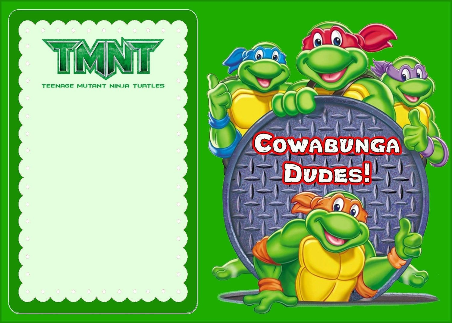 Free Online Ninja Turtle Invitation | Coolest Invitation Templates - Free Printable Tmnt Birthday Party Invitations