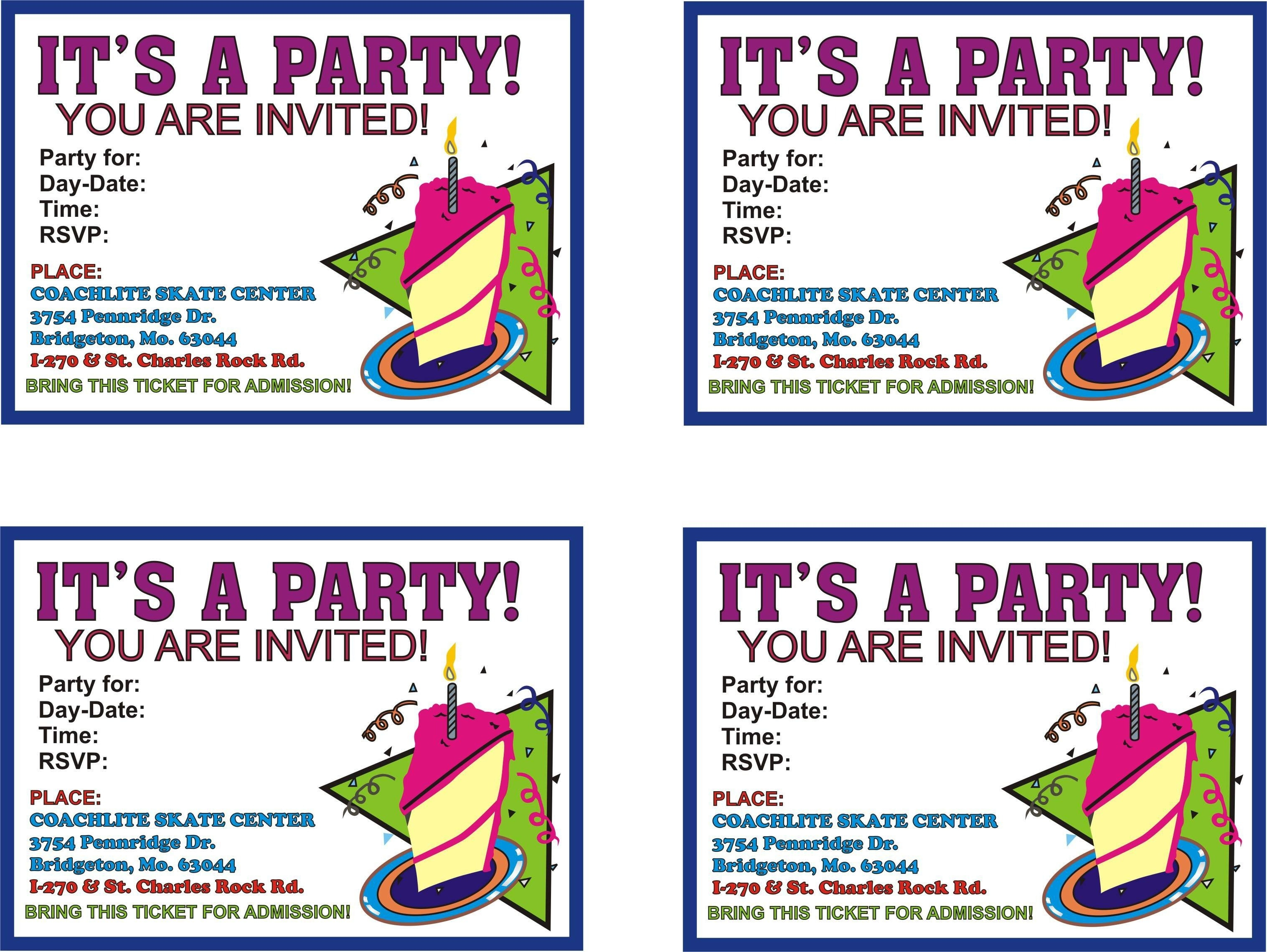Free Online Printable Birthday Party Invitations | Lazine - Free Online Printable Invitations