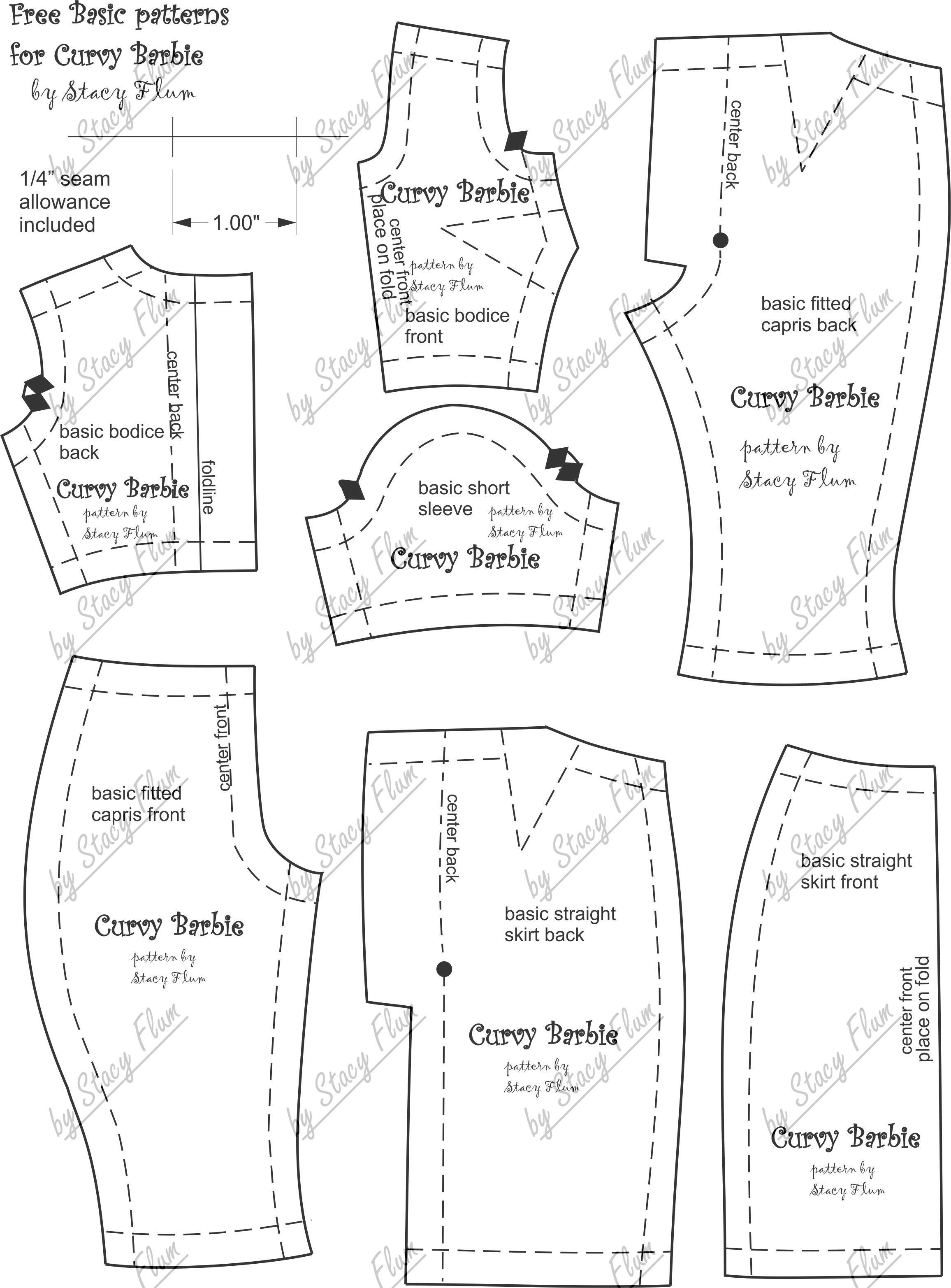 Free Pattern For Curvy Barbie. | Doll Clothes, Footwear And Ideas - Barbie Dress Patterns Free Printable Pdf