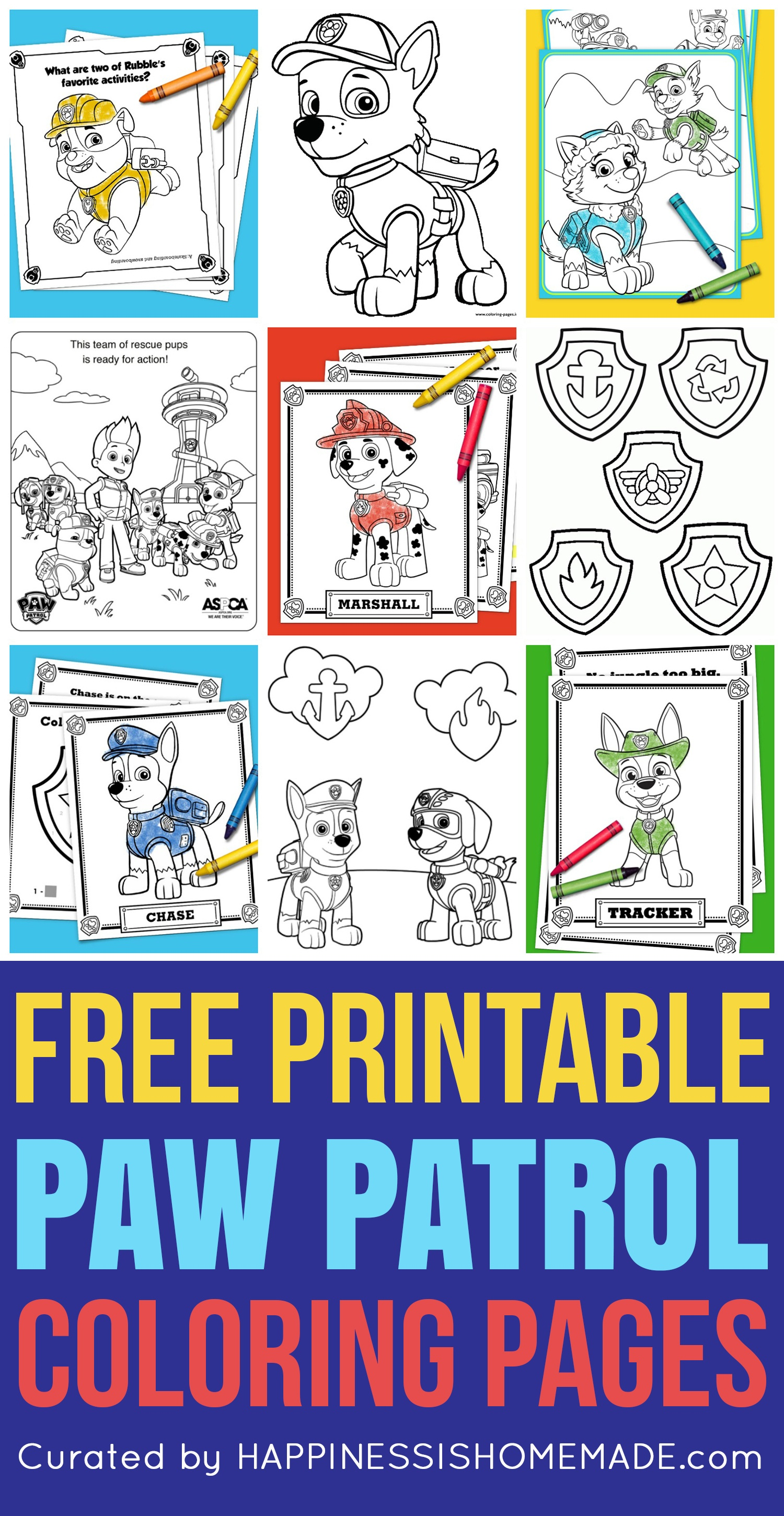 Free Paw Patrol Coloring Pages - Happiness Is Homemade - Free Paw Patrol Birthday Printables