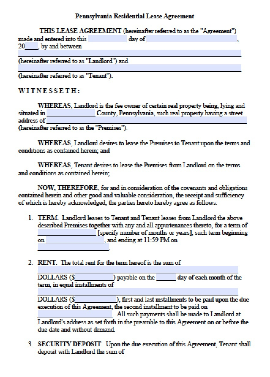 Free Pennsylvania Standard Residential Lease Agreement Template - Free Printable Lease Agreement Pa