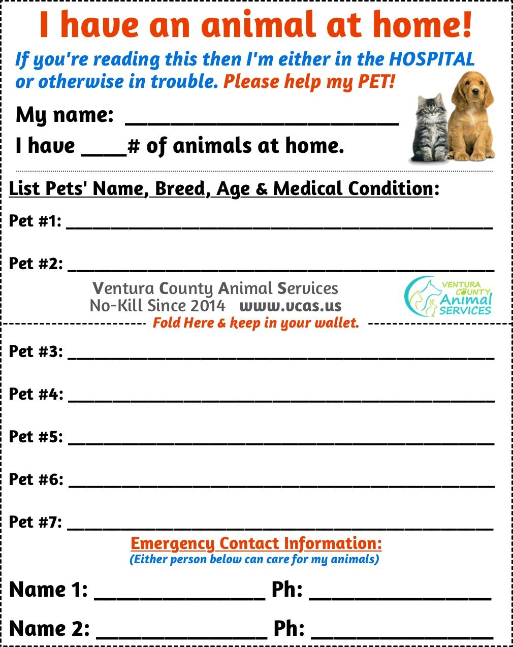 Free Pet Emergency Wallet Card Printable | Critters | Pets, Pet - Free Printable Emergency Medical Card