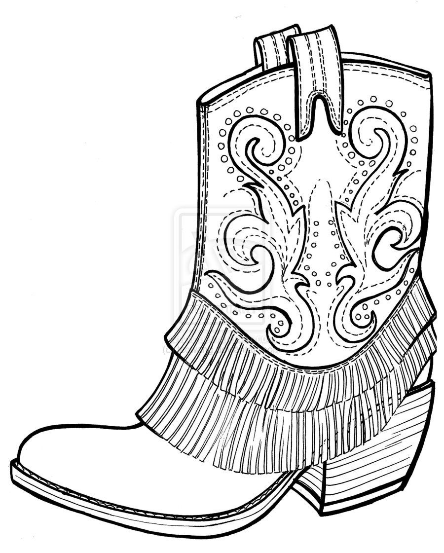 Free Picture Of Cowboy Boots | Cowboy Boots Coloring Page - Coloring - Free Printable Cowboy Boot Stencil