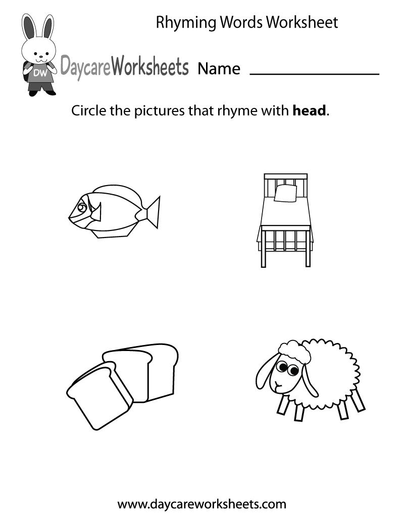 Free Preschool Rhyming Practice Worksheet - Free Printable Rhyming Activities For Kindergarten