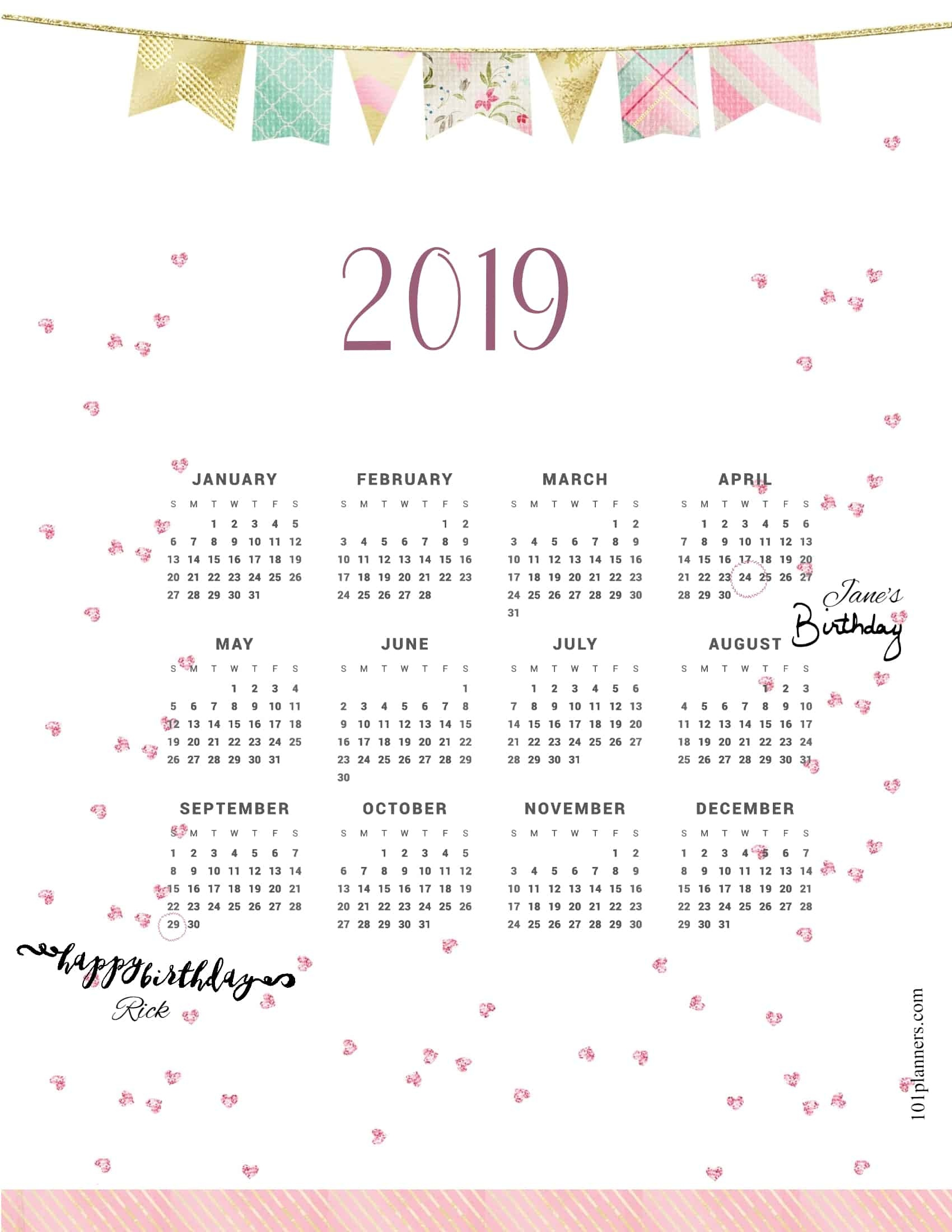 Free Printable 2019 Yearly Calendar At A Glance | 101 Backgrounds - Free Printables 2019