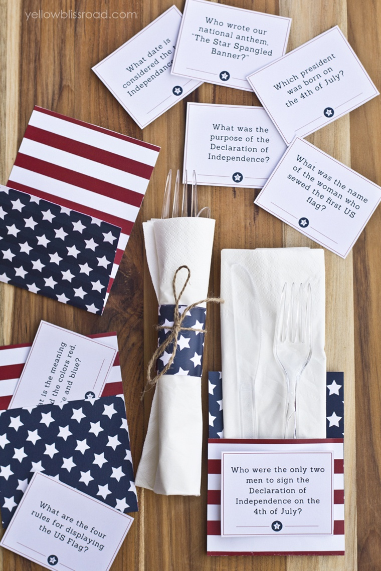 Free Printable 4Th Of July Trivia Cards & Utensil Holders - Yellow - Free Printable 4Th Of July Trivia Questions And Answers