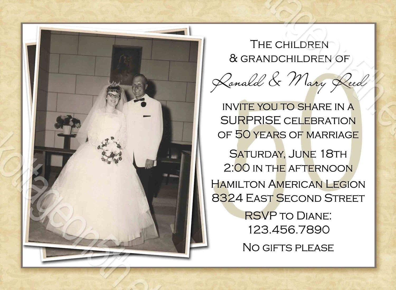 Free Printable 50Th Wedding Anniversary Invitation Templates - Free 50Th Anniversary Printables