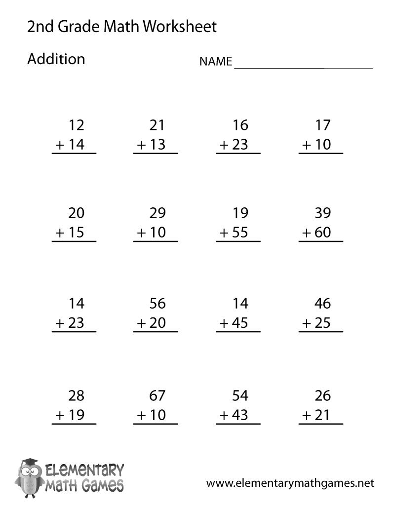 Free Printable Addition Worksheet For Second Grade - Free Printable Math Problems For 2Nd Graders
