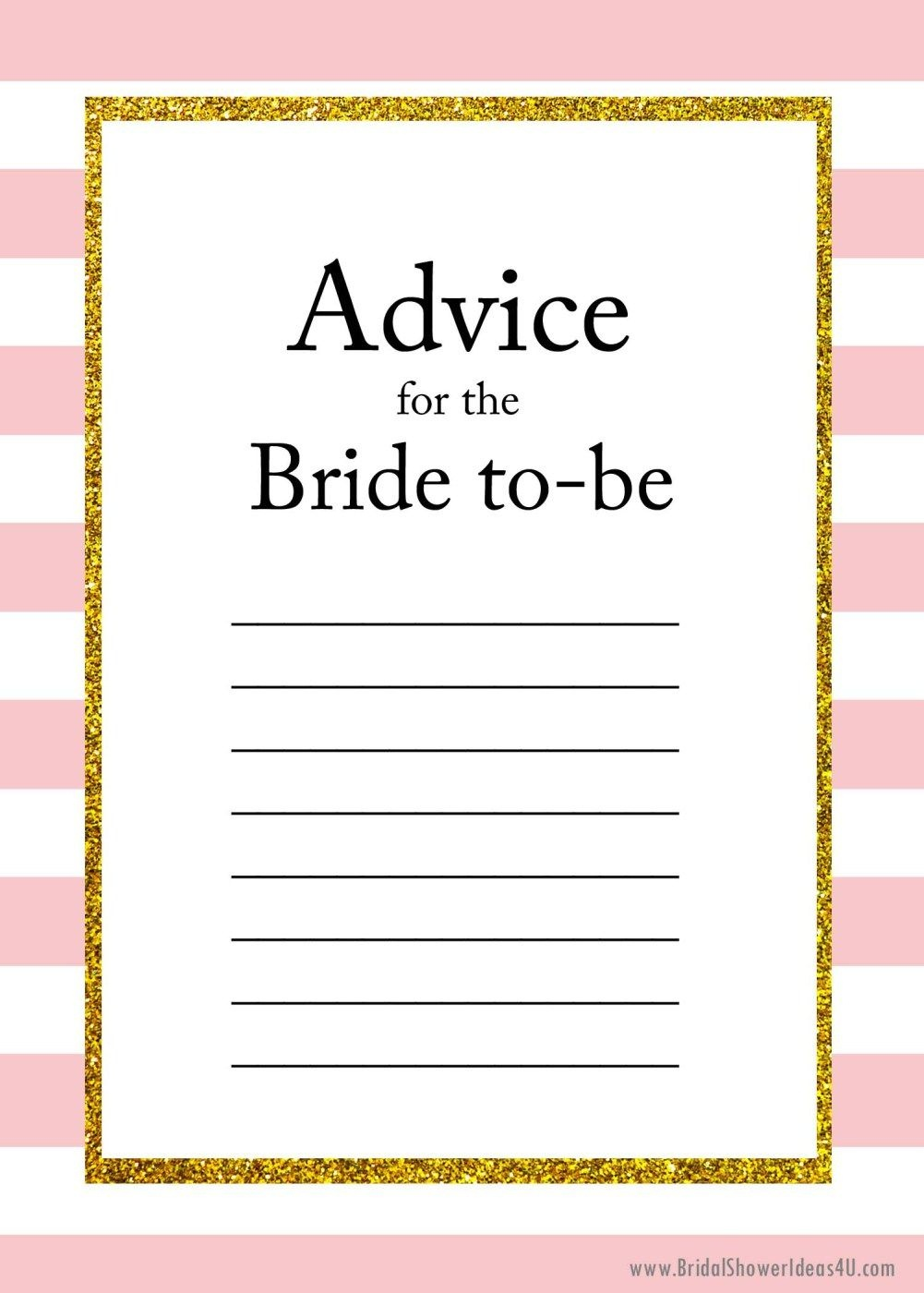 Free Printable Advice For The Bride To Be Cards | Friendship | Bride - Free Printable Advice Cards For Baby Shower Template