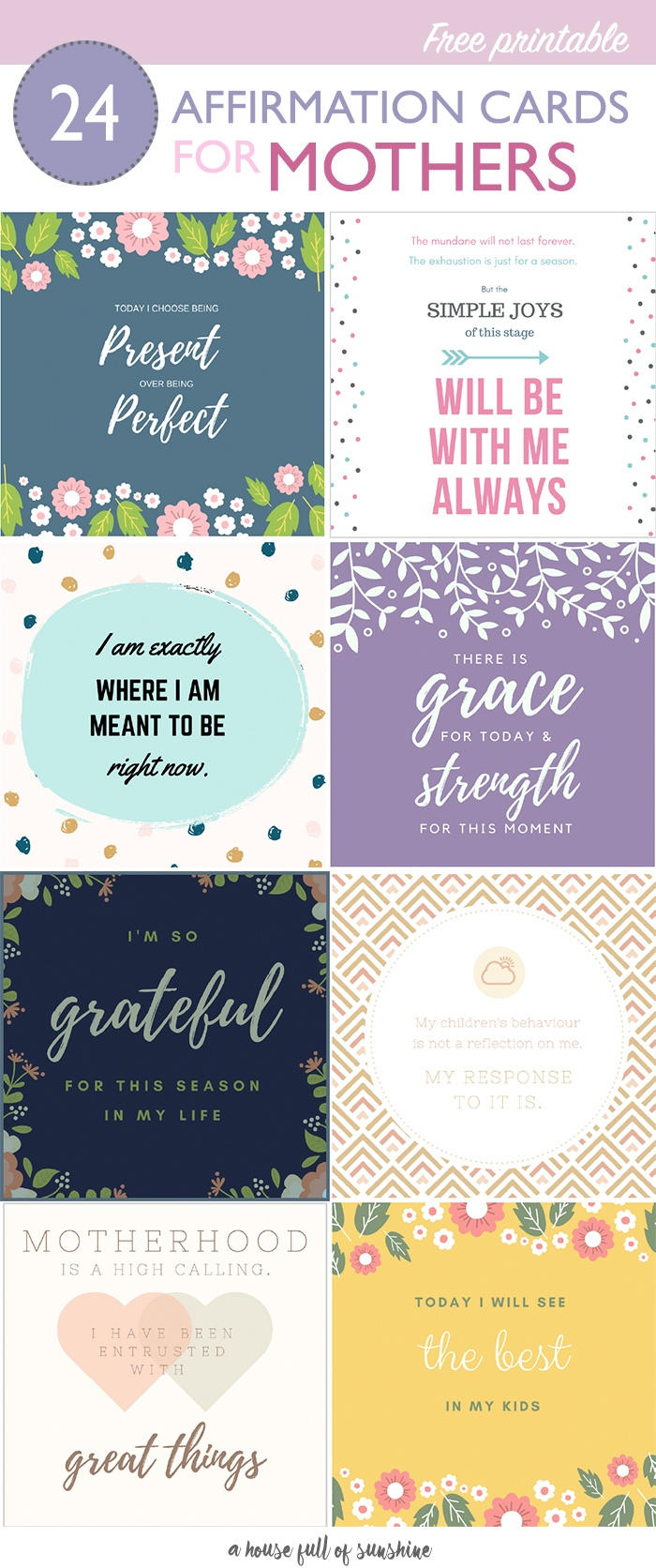 Free Printable Affirmation Cards For Mothers | A House Full Of Sunshine - Free Printable Affirmation Cards