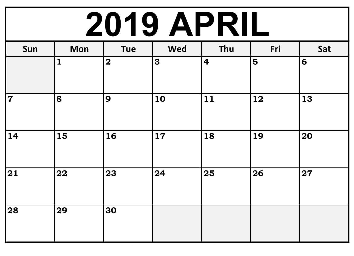 Free Printable April 2019 Calendar Downloadable #tumblr #twitter #fb - Free Printable Facebook Template