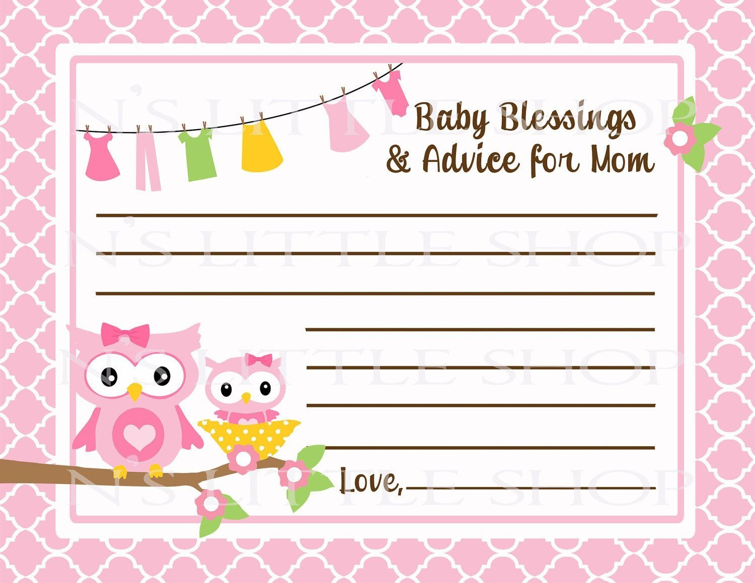 Free Printable Baby Advice Cards. Request A Custom Order And Have - Free Printable Baby Shower Advice Cards