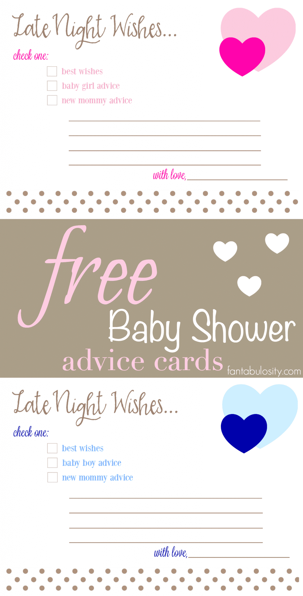Free Printable Baby Shower Advice & Best Wishes Cards - Fantabulosity - Free Printable Baby Shower Advice Cards