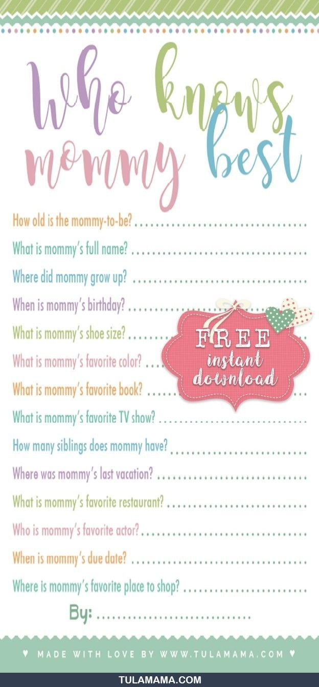 Free Printable Baby Shower Games Who Knows Mommy The Best | Gender - Who Knows Mommy Best Free Printable